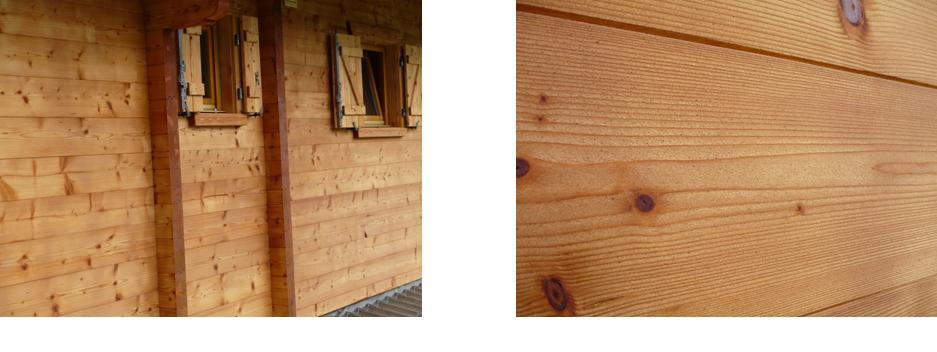photos d'un chalet en madriers sablé et huiléentretien du bois