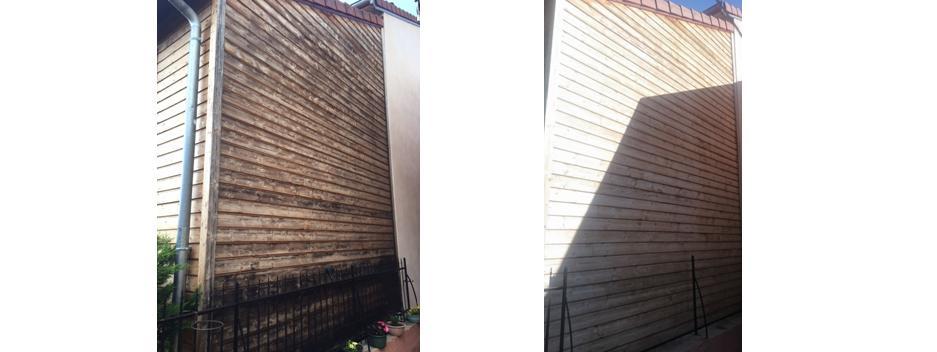 bardage bois avant et après dégriseur