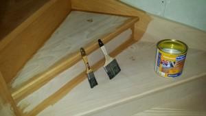 escalier en bois pendant vitrification