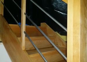 escalier en bois après vitrificateur