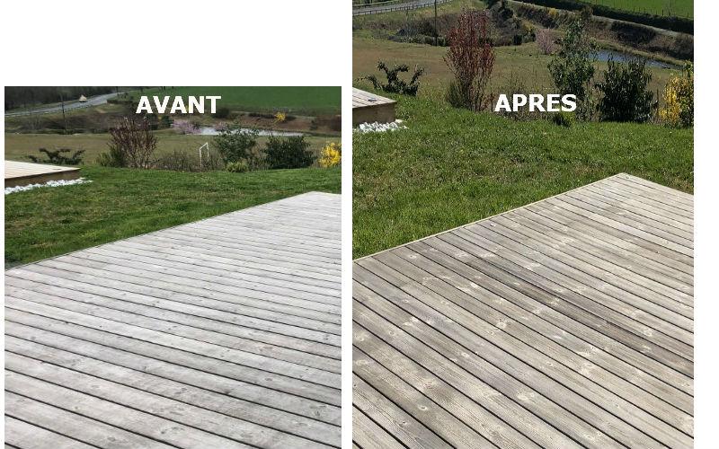 terrasse en douglas avant et après traitement avec le produit bois Corinet