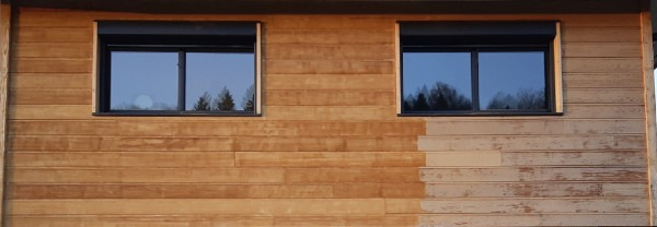 Bardage bois, différence entre le bois brut et le bois traité avec un produit non adapté à cette essence acide.