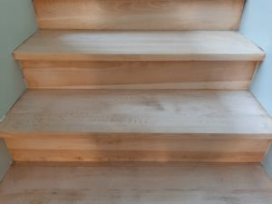 un escalier après vitrification
